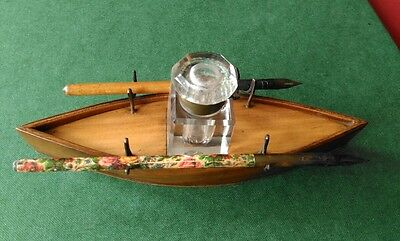 Mauchline Cedar Ware Boat Shaped Ink Well Stand  & 2 Dip Pens