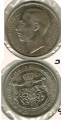 Uncirculated 1964 Luxembourg 100 Francs
