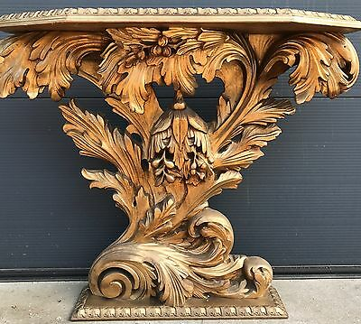 1950 Italy Baroque Style Carved Console Side Table