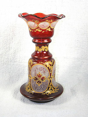 19th Century Blown Glass Etched & Enameled Ruby Cut to Clear Moser Type Vase