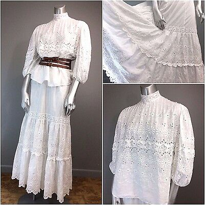 Victorian White Cotton Lawn Embroidered Floral Eyelet Blouse Skirt Wedding Dress