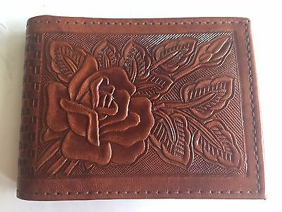 Vintage NOS Hand Tooled Mexican Leather Mens Wallet ROSES BROWN