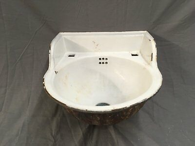 Small Antique Cast Iron White Porcelain Ornate Bath Sink Old Vtg Fixture 489-17E