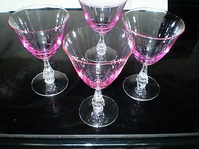 Tiffin Glass Wisteria Pink Water/Large Footed Stems (4)