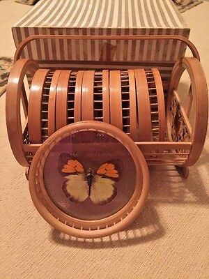 Set Of 6 Vintage Butterfly Bamboo Coasters With Holder In Original Box