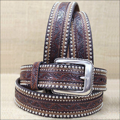 "32-46"" Tony Lama Aged Bark Brown 1.5"" Floral Tool Jagged Rail Leather Men Belt"