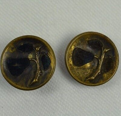 Antique Metal Button Velvet Brass Cut Out Pears Picture Fabric Set of 2 Buttons