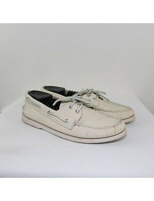 SPERRY Men's Ivory Leather Boat Shoes Size 9M