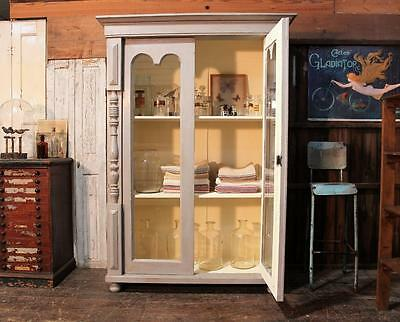 Original French Painted Glazed Cupboard Vintage Victoriana Salvage