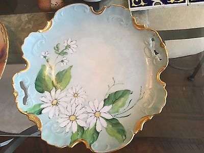 Vintage Porcelain Hand Painted Cake/pastry Plate W/ Daisies, Gold/blue  Handles