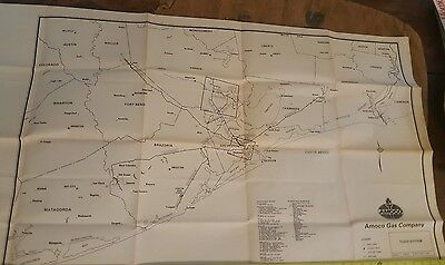 """Oil & Gas Amoco Pipeline Engineering For Framing Texas 44"""" x 30"""" 1987 Map"""