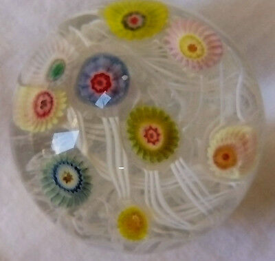 Vintage Small Miliifiori Paperweight With Ground Base, Excellent Condition