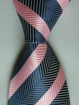 Blue And Pink Striped Classic 100% Silk Men's Necktie B675