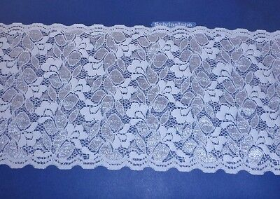 2 m   of    Double Sided   White  Stretch   lace   Pretty Sheen    15 cm   Wide
