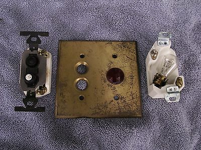 Vintage Brass Push Button Switch Plate Ruby Bullseye With Switch And Pilot Light