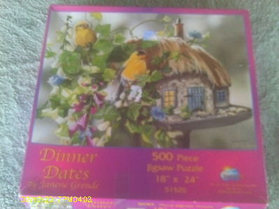 """500+ Piece Puzzle """"Dinner Dates"""" Pair of Goldfinches Perched on Bird Feeder"""