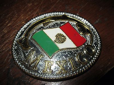 Mexico Mexican Flag Gold And Silver Tone Western Style Belt Buckle