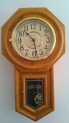 Classic Manor Oak Schoolhouse Style Wall Clock, Westminster Chimes