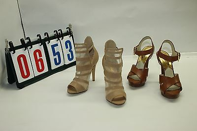 Lot of 4 2 Sets Womens Shoes Open Toe Sandel Buckle Michael Kors Liliana Sz 6 7