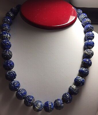 Natural Lapis Carved Shou Bead Necklace Jewelry Chinese Estate Lot Vintage