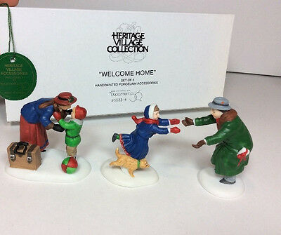 NEW NOS 55336 Dept 56 Heritage Village Collection WELCOME HOME 5533-6 Set of 3