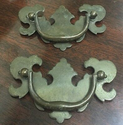 Set Of 2 Old Vintage Brass Drawer Pulls, East Lake Style?