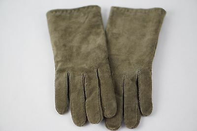 Women's Suede Leather Pale Green Winter Windproof Gloves Size Large