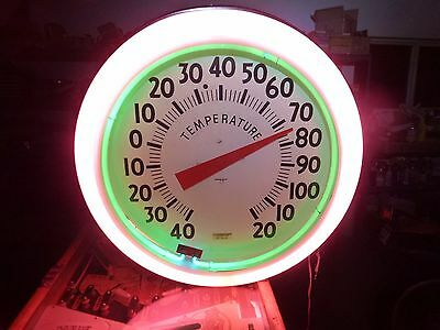 Restored 1940s Electric Neon Clock Co. Neon Thermometer ! ! !