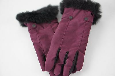 Women's Wine Burgundy Weatherproof Winter Gloves Black Furry Cuff Size Medium