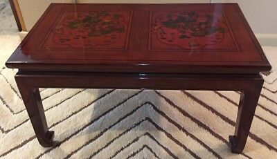"Antique Asian Table Red Lacquer Decorated Top 31.5"" -  P/U NJ"
