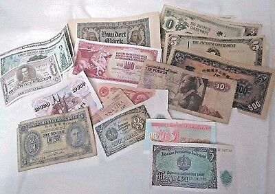 Assorted Lot of  21 Foreign Paper Banknotes