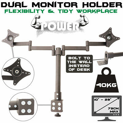 Computer Monitor Stand Bracket Holder 2 Arm Holds Lcd Screen Desk Mount 29 Inch