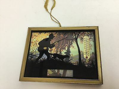 Vtg  Advertising Silhouette Picture Reverse Painted Thermometer Hunting Scene