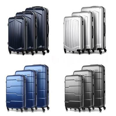 3Pcs Luggage Travel Set Bag ABS + PC Spinner Trolley Carry On Suitcase L5V9