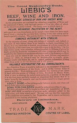 1920's Liebig's Beef,Wine and Iron Great Restorative Tonic Advertising Flyer