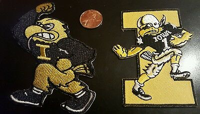 """(2) Iowa Hawkeyes vintage iron on embroidered patch Lot  3"""" x 2"""" & 3x3"""""""