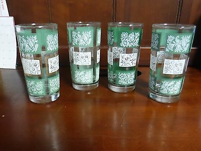 4 Libbey Vintage Glasses Ice Tea Tumblers Green White Rectangles With Flowers