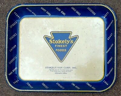 old tin litho serving tray advertising Stokely Van Camp foods