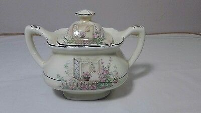 Vint. W. S. George Lido Canarytone covered sugar bowl 123A pink floral