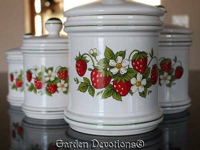 Vintage 70's Retro 4pc SEARS STRAWBERRY CANISTER SET Country Kitchen *JAPAN*
