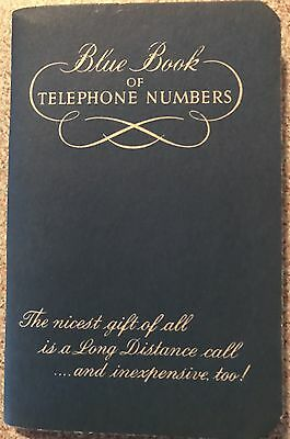 Vintage Address Blue Book Of Telephone Numbers Bell Telephone Company