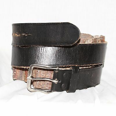 "Vintage Full Grain black Leather Belt sz 32 & 1½"" Wide silver square buckle"