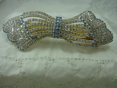 "Vintage 1980's Oversized Clear & Blue Rhinestone 4 1/2"" Bow Hair Barrette"