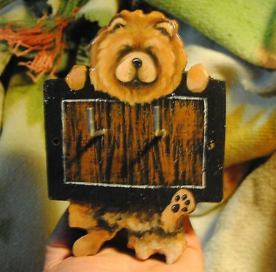 Original Painting~Chow Chow~Dog~Hand Made~Hook~Key~Leash Hanger~Whimsical~Holder