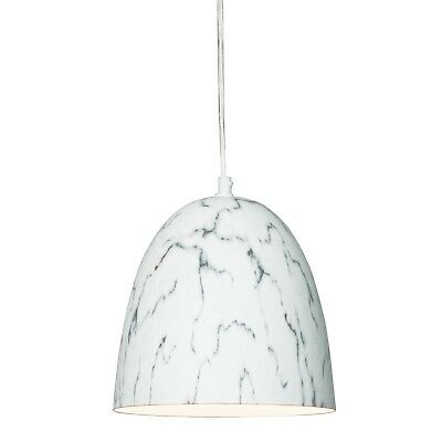 WHITE MARBLE PENDANT LIGHT Luxury Dome Style with Clear Cord and Fittings NEW