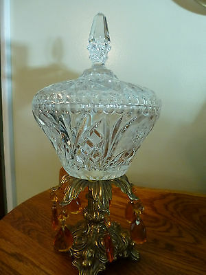 Vintage Crystal Covered Candy Dish w/Amber Prisms Brass Base