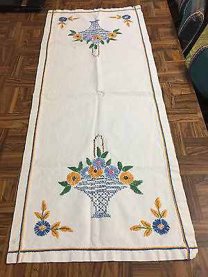 """Vintage Cream Hand Embroidered & Cross Stitch FLORAL Linen Table Runner 15""""x 36"""""""