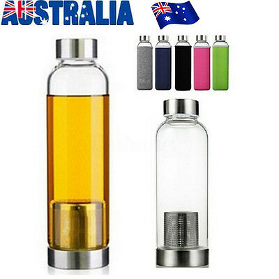 550ml Glass Juice Tea Water Bottle w/ Stainless Steel Filter Infuser Cup Mug AU
