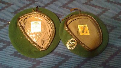 West German Green Jaeger beret lot of 2 sizes 62 and 63
