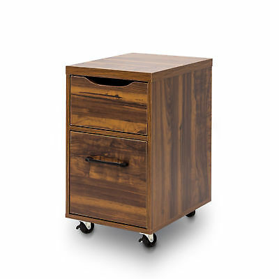 2 Layer Drawer Cabinet Chest Filling Document Mobile Pedestal With Wheels Brown